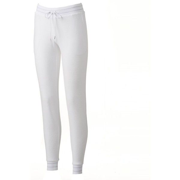 Women's Juicy Couture Velour Bridal Jogger Pants ($60) ❤ liked on Polyvore featuring activewear, activewear pants, white, juicy couture sportswear and juicy couture
