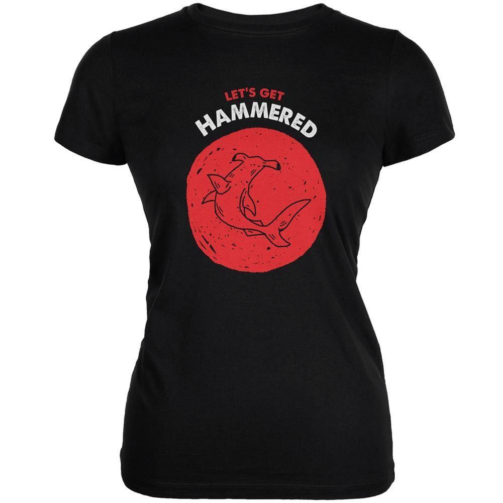 Let's Get Hammered Shark Black Juniors Soft T-Shirt