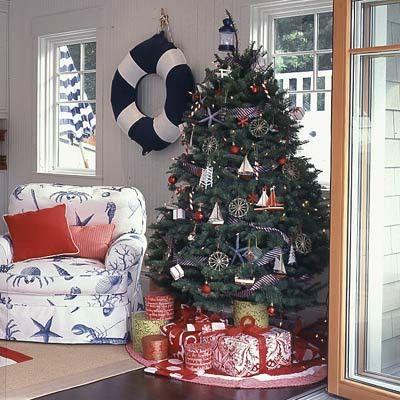 beach christmas decorations nautical christmas decorating ideas beach house decorating - Christmas Decorating Ideas Beach House