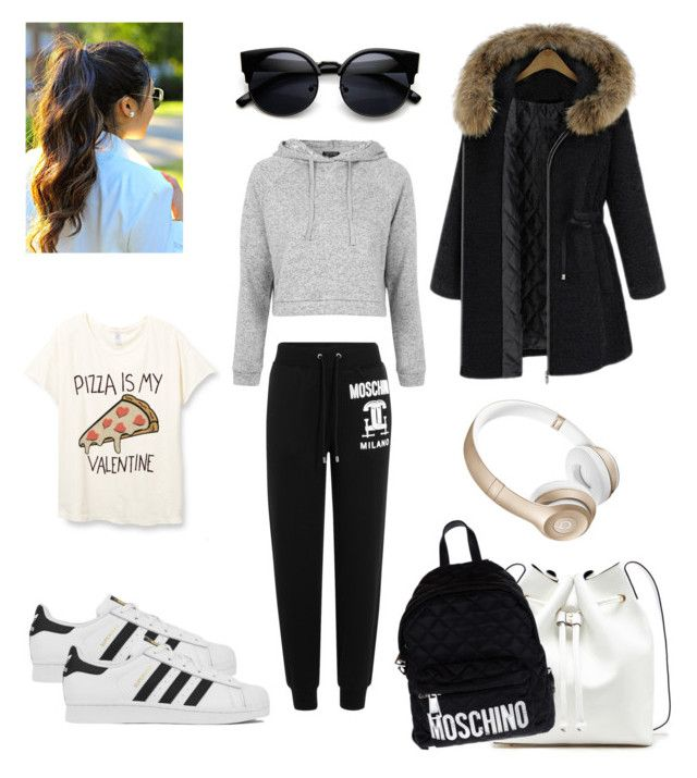 """""""Gym Outfit - Adidas Superstar"""" by catarinaa-castro ❤ liked on Polyvore featuring Sole Society, Beats by Dr. Dre, adidas, Moschino and Topshop"""