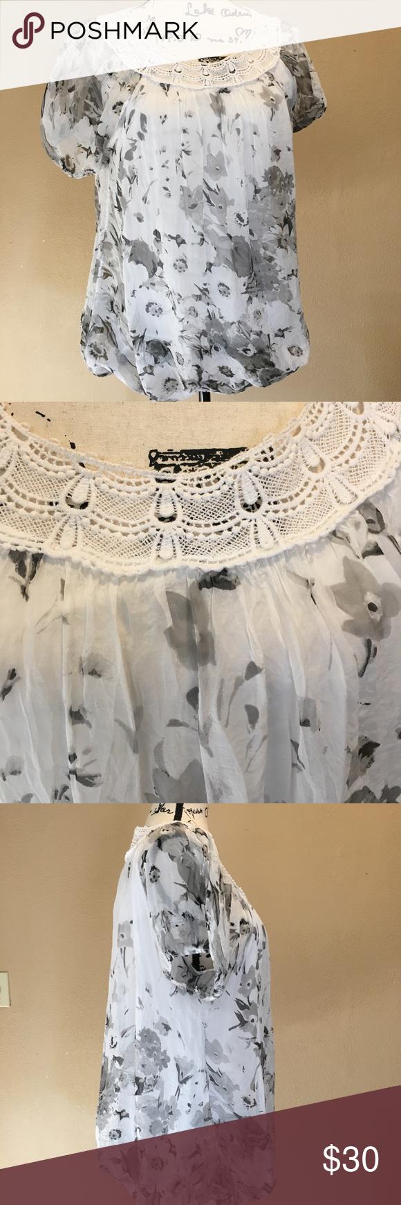 "4ce8e1dedce047 Elena Baldi silk crochet blouse Made in Italy. 21"" bust when laid across  flat"