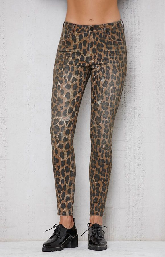 PacSun Leopard Ripped Mid Rise Skinny Jeans  00f75c4117