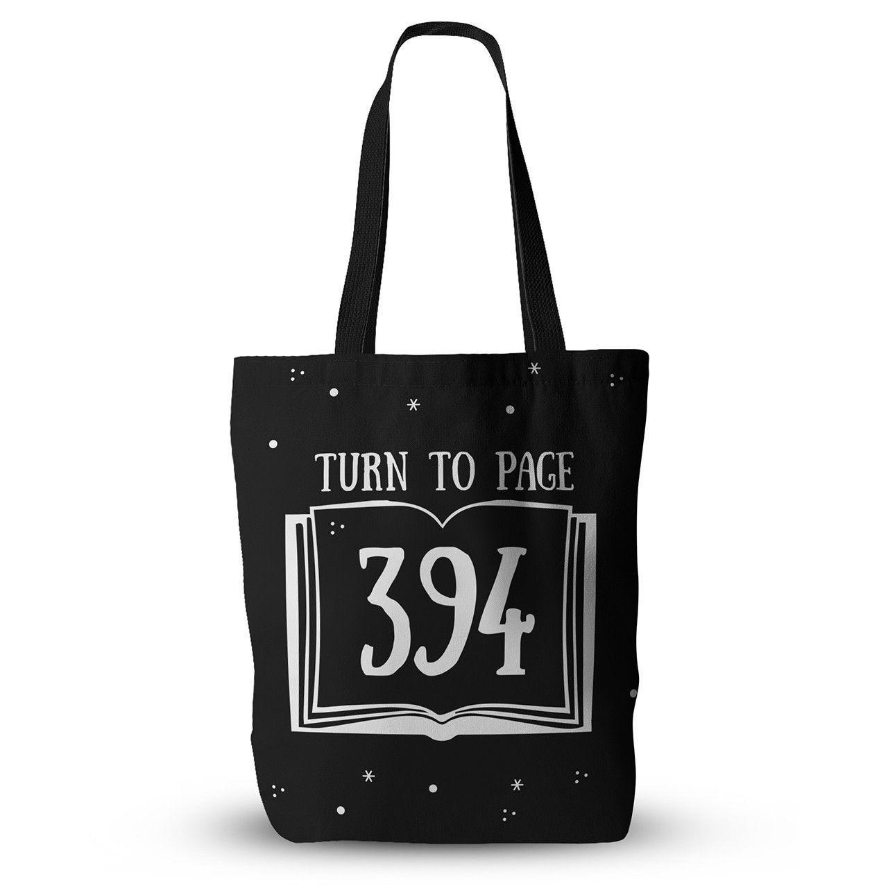 "Jackie Rose ""Turn To Page 394"" Black Pop Art Everything Tote Bag"