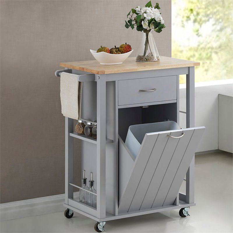 Yonkers Kitchen Cabinets Baxton Studio Yonkers Contemporary Light Grey Kitchen Cart with