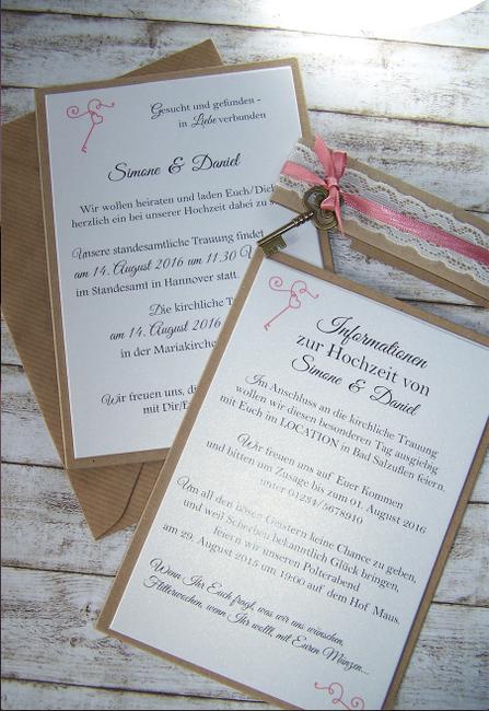 Einladung Hochzeit Vintage Mit Kraft Spitze Schlussel Rustikal