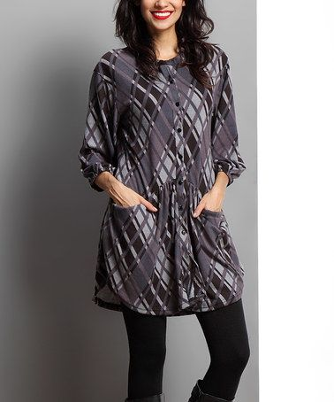Another great find on #zulily! Charcoal Plaid Button-Front Tunic #zulilyfinds