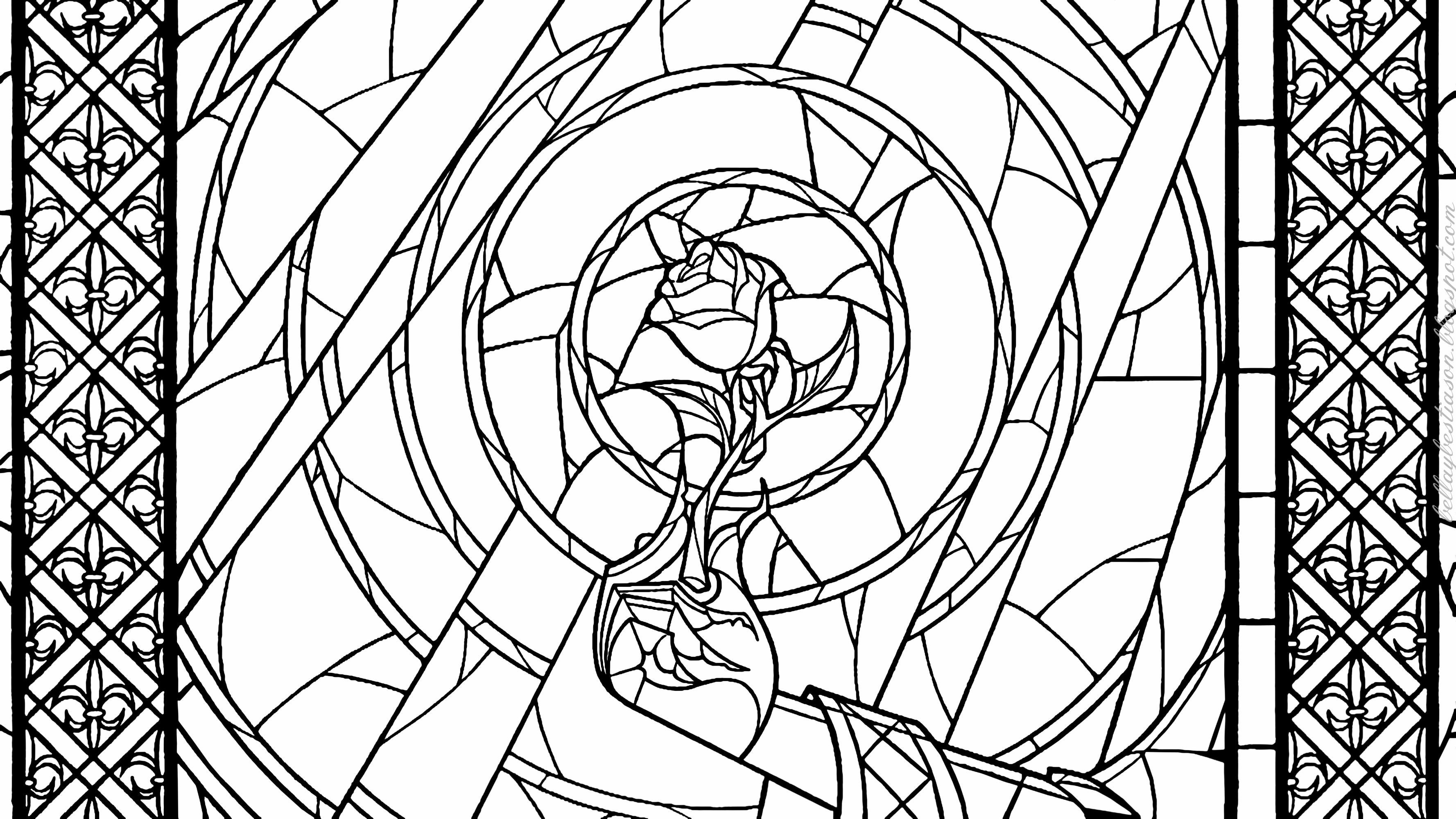 Beauty And The Beast Rose Stained Glass Coloring Page 384748 Jpg