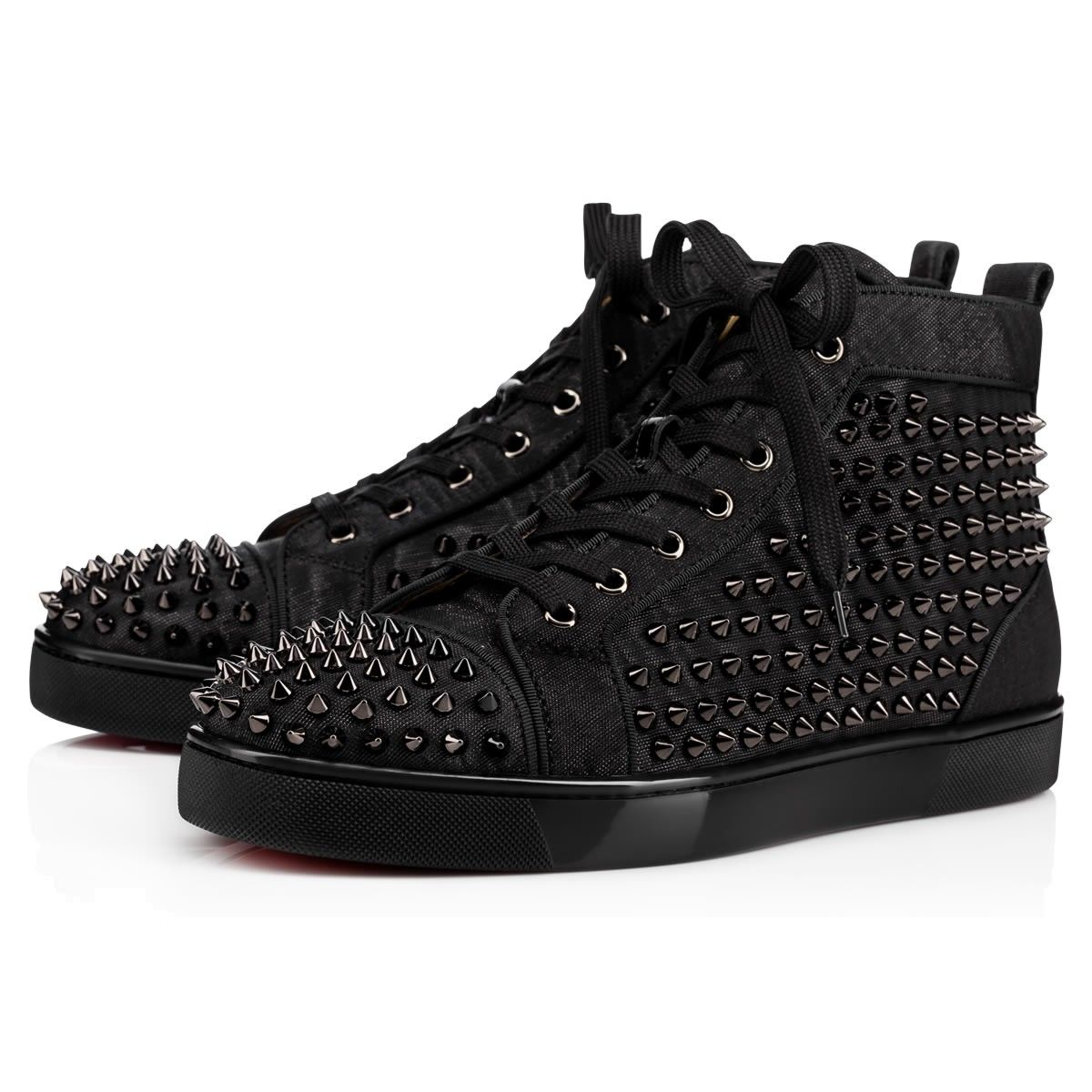 bec9a158fe9f CHRISTIAN LOUBOUTIN Louis Spikes Orlato Men S Flat Black Gunmetal Leather -  Men Shoes - Christian Louboutin.  christianlouboutin  shoes