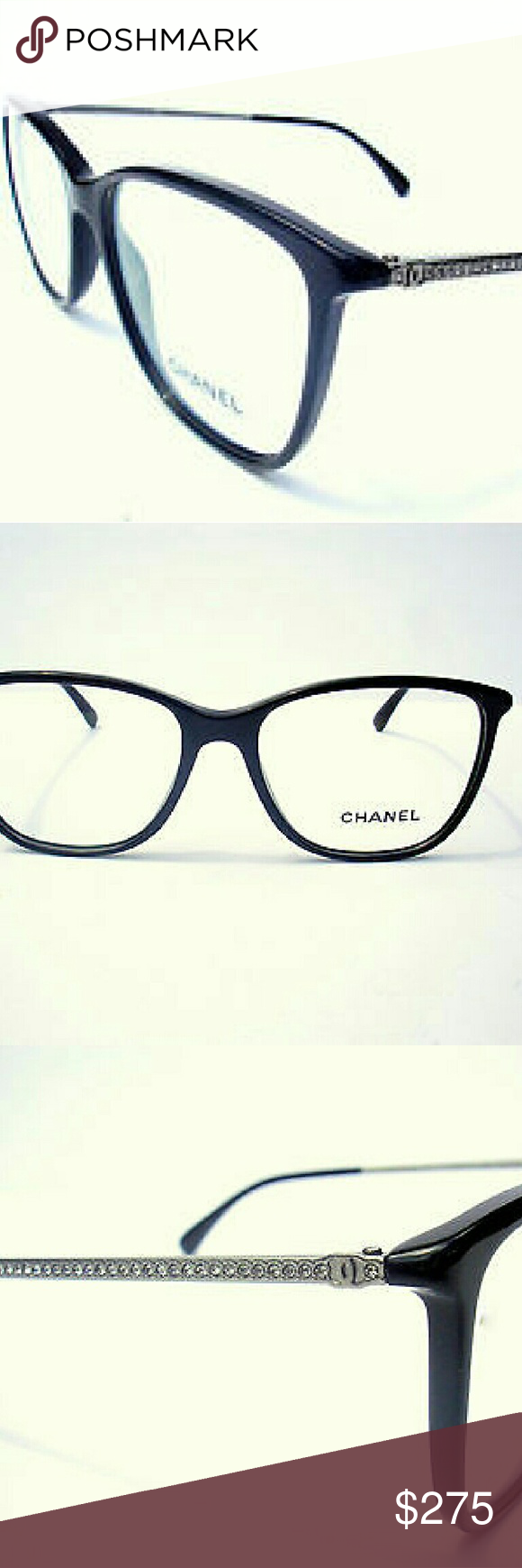 f9740ae2981 Chanel Eyeglasses New authentic Chanel Eyeglasses Black frame with crystals  on sides Includes original case only Chanel Accessories Glasses