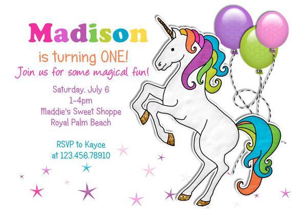 Rainbow Unicorn Birthday Invitation Printable And By 3peasprints