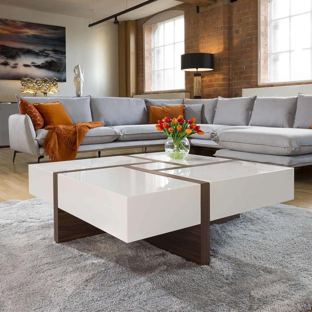 Huge modern square 1000mm coffee table white high gloss