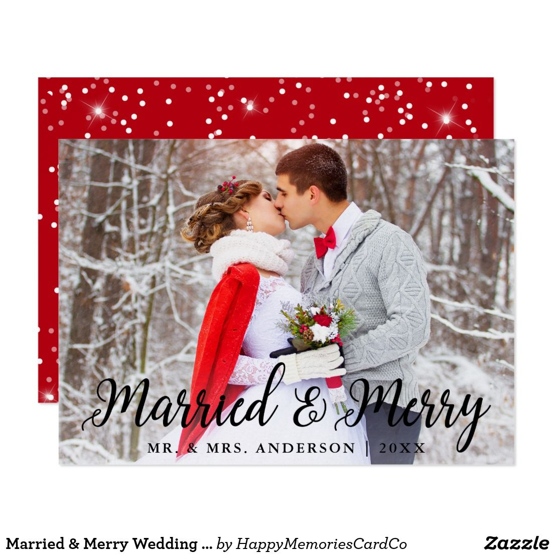 Married & Merry Wedding Photo Christmas Card S in 2018 | Just ...