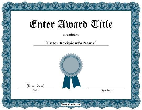 Blue Ribbon Certificate Template For Microsoft Word Certificate Templates Awards Certificates Template Free Certificate Templates