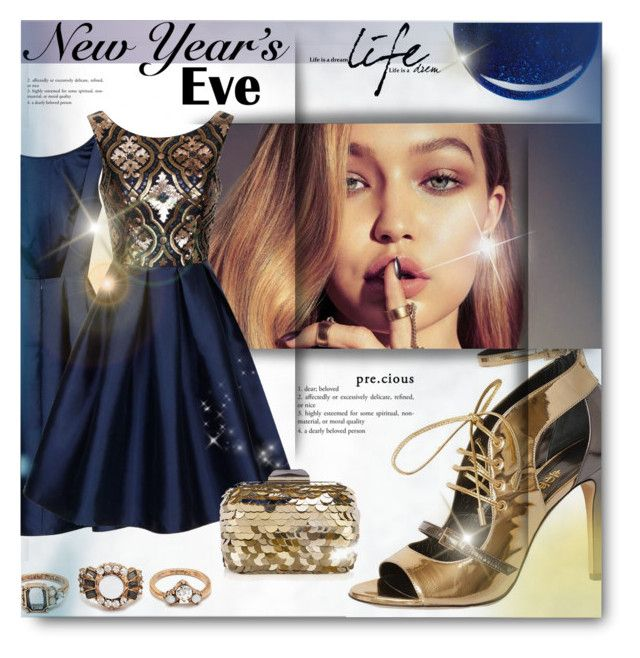 """""""New Year Dance Party"""" by milica1940 ❤ liked on Polyvore featuring Chi Chi, RGB, Forever 21, Jimmy Choo, gold, Blue, newyear and gigi"""