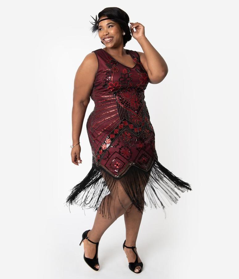 92ab70b9047 Unique Vintage Plus Size 1920s Black   Red Beaded Fringe Charvelle Flapper  Dress