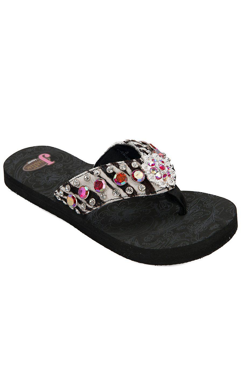 f579237f7c3ed Justin® Sandra™ Women s Black Zebra Print w  Muticolor Jeweled Flip-Flop