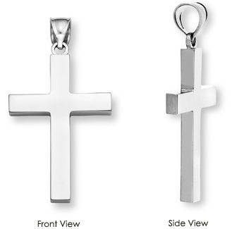 Mens solid cross pendant necklace in sterling silver mozeypictures Gallery