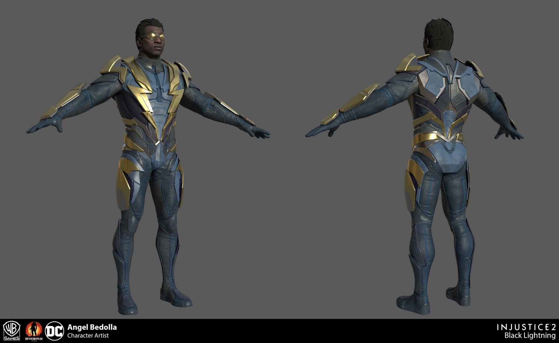 Artstation Injustice 2 Black Lightning Angel Bedolla Black Lightning Black Lightning Static Shock Super Hero Costumes