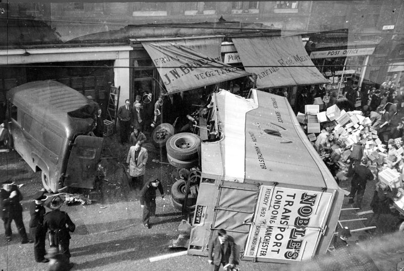 Fire Department, special  service call to a traffic accident in Duke Street showing Nos. 10, J.W. Bradshaw, fruitier; 8, E. Parkins Ltd., butcher and 6 Duke Street Post Office