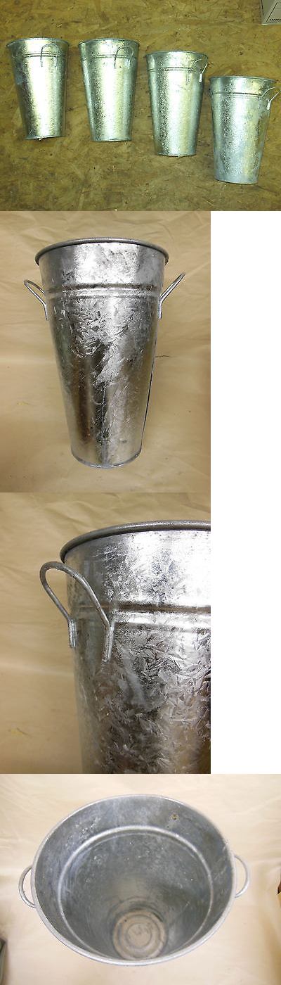 Baskets Pots and Window Boxes 20518: (4) French Galvanized Metal Flower Buquet Pot W Handles 12 Tall - Nos -> BUY IT NOW ONLY: $49.99 on eBay!