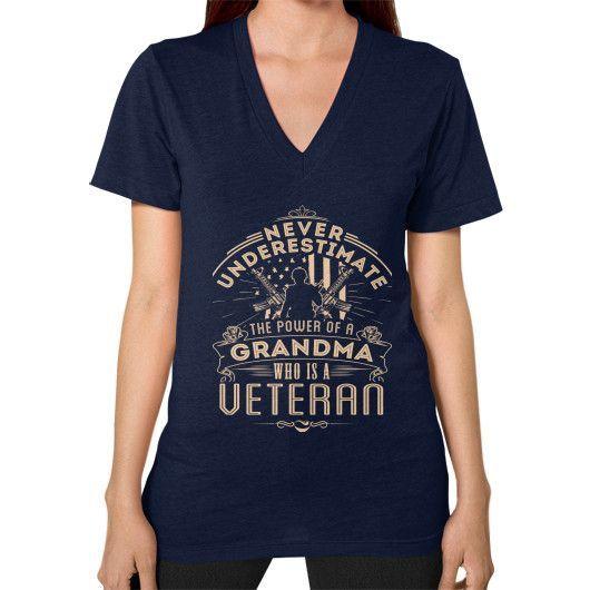 NEVER UNDERSTIMATE Veteran V-Neck (on woman)