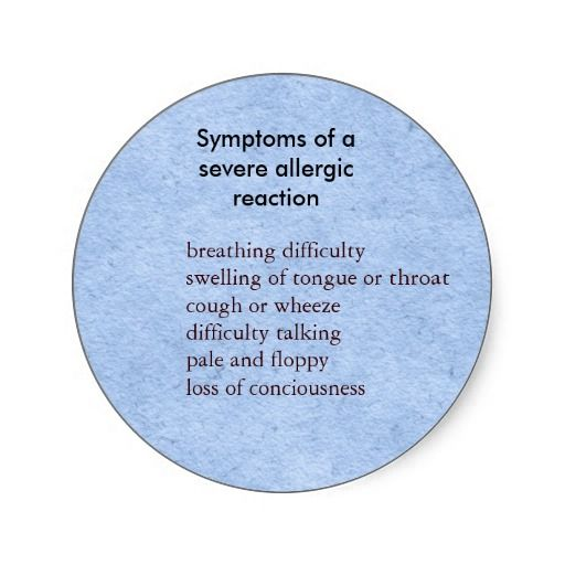 Symptoms of severe food allergy round sticker
