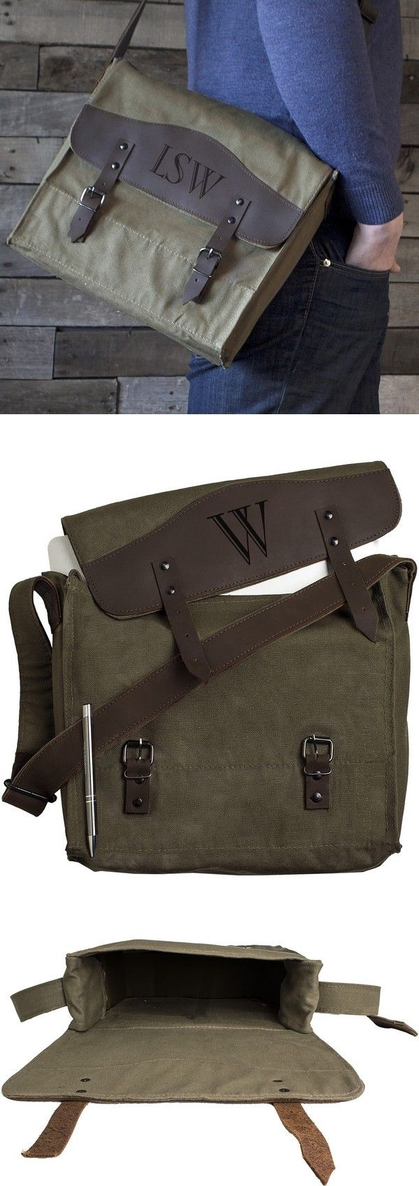 Personalized 13 x 11 Green Canvas & Leather Messenger Bag