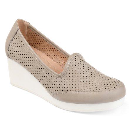 36d2253283ff7 Brinley Co. Womens Comfort-sole Laser-cut Lightweight Wedges, Gray ...