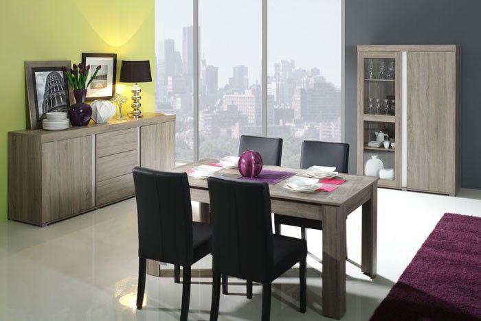Mesa de comedor modelo Álvarez, color madera roble claro ...