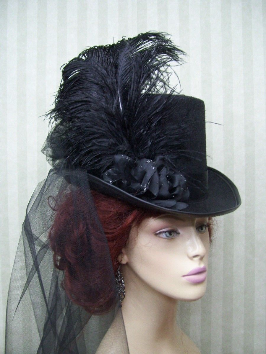 Black Steampunk Top Hat Kentucky Derby Hat Civil War Halloween Hat Victorian Hat