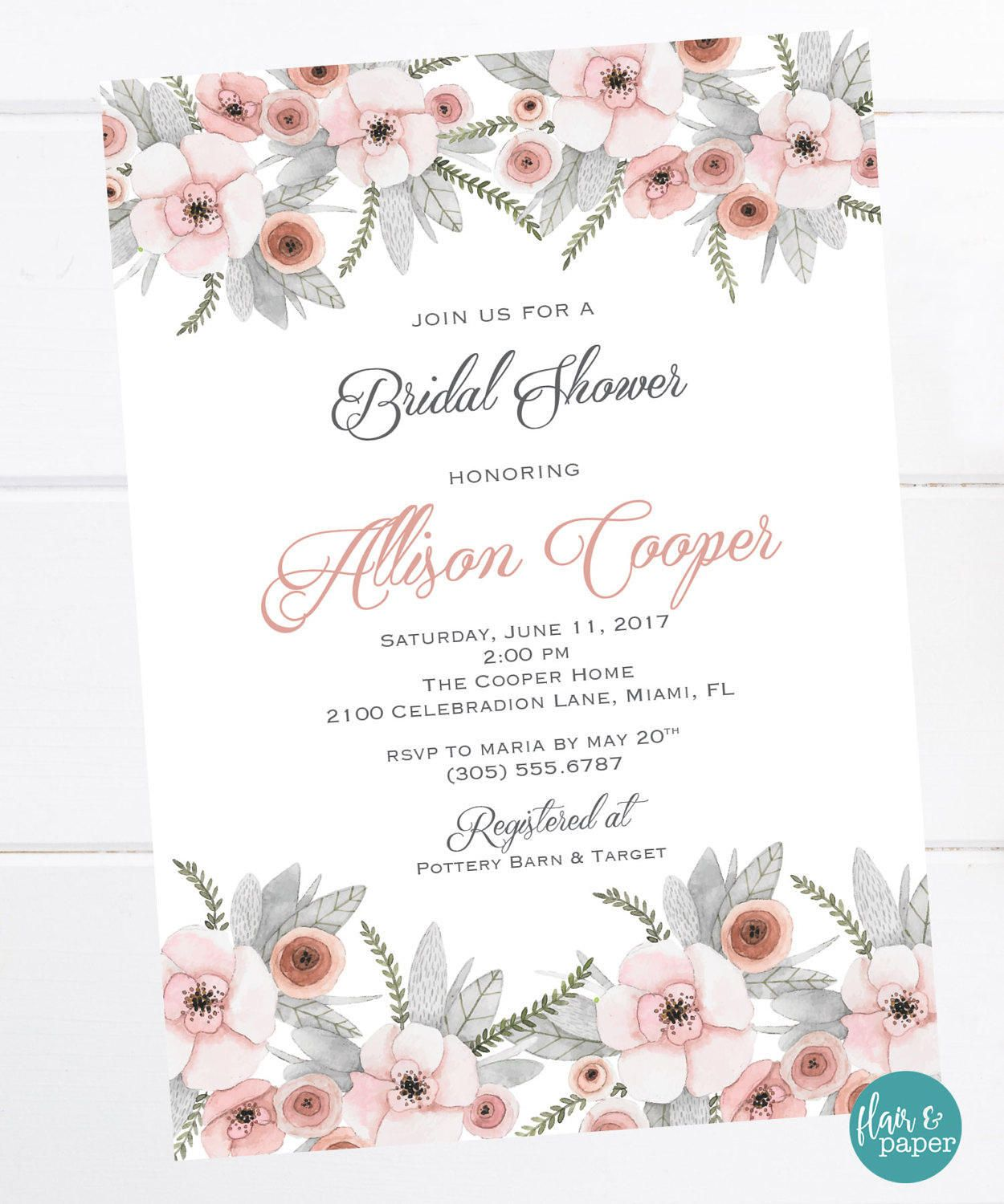 Floral Bridal Shower Invitation, Shabby Chic Shower, Elegant Bridal ...