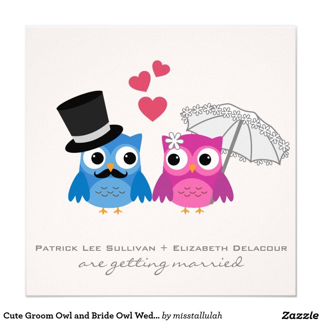 Cute Groom Owl and Bride Owl Wedding Invitation | Pinterest | Owl ...