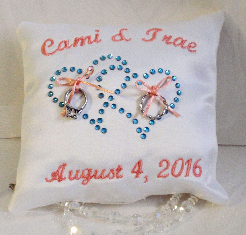 "Beautiful 5"" square wedding ring pillow"