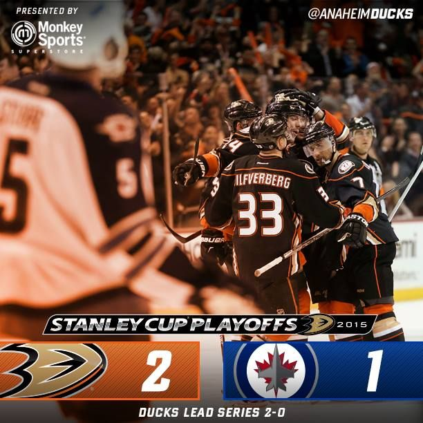 Ducks head to Winnipeg with a 2-0 lead in the series with another 3rd period comeback win 2-1. GO DUCKS!
