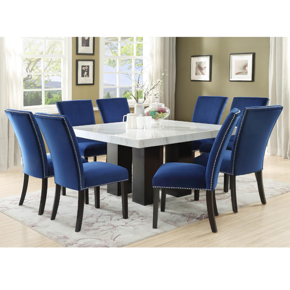 Camila 9 Piece Dining Set With Marble Table Top By Steve Silver At Wayside Furniture Dining Table Marble Blue Velvet Dining Chairs Marble Top Dining Table