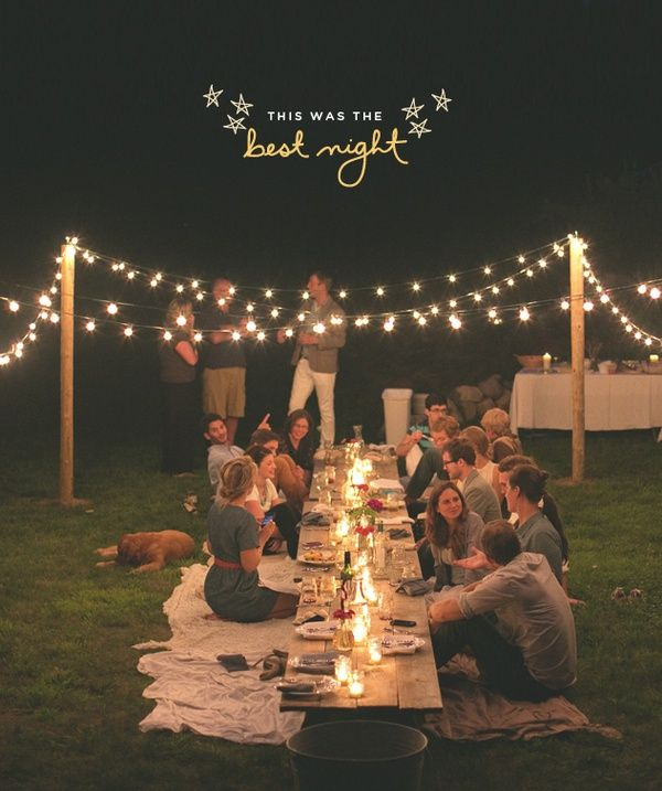 Outdoor Dinner Party String Lights Barn Wood Planks Mason Jar Candles Sheets