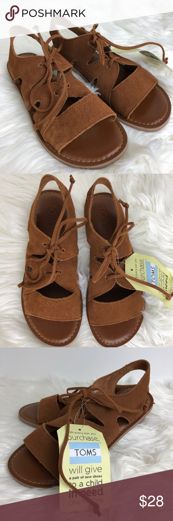 d6d42cca22e Toms Calipso Brown Tie Sandals NWT Toms Calipso sandals Color  Brown Size   5 Tie up NWOB Tag attached Suede slight discoloration  shown in last pic  Toms ...