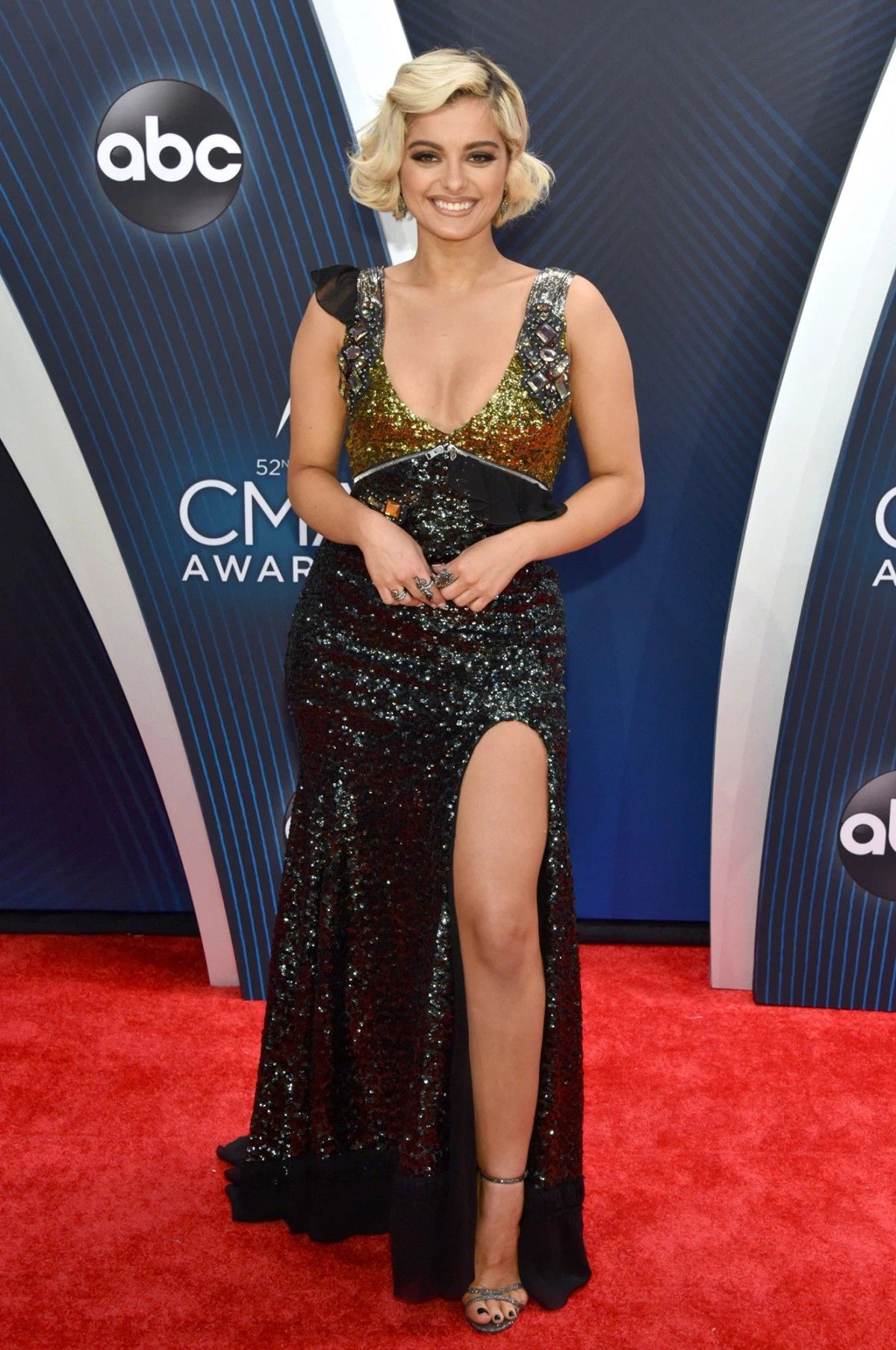 Bebe Rexha in custom Coach at the 2018 CMAs | All That ...