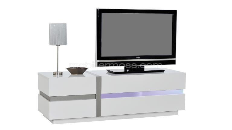 Cross Meuble Tv Design Blanc Laqua C 150 Cm Avec A C Clairage Led