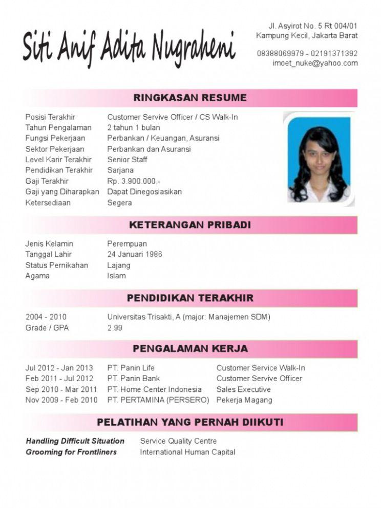 Cv Template Bahasa Indonesia Resume Format Curriculum Template Curriculum Vitae Curriculum Vitae Template