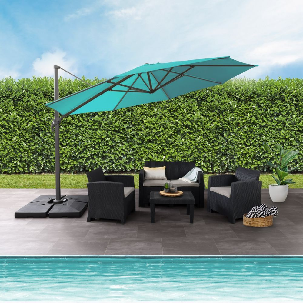 Sharing Special Moments In Your Own Backyard Is Easy With This 11 5ft Deluxe Offset Patio Umbrella This Versati Patio Umbrella Offset Patio Umbrella Blue Patio