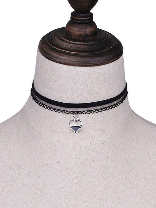 Heart Pendant Lace Choker Necklace