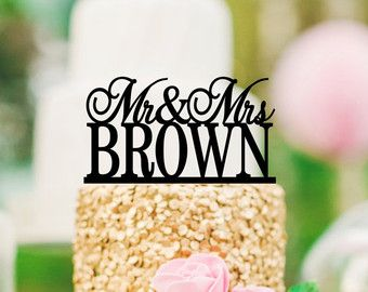 Personalized Mr and Mrs Wedding Cake Topper by ThePinkOwlGifts