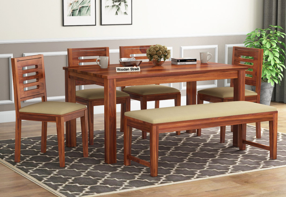 Buy Janet 6 Seater Dining Table Set With Bench Honey Finish