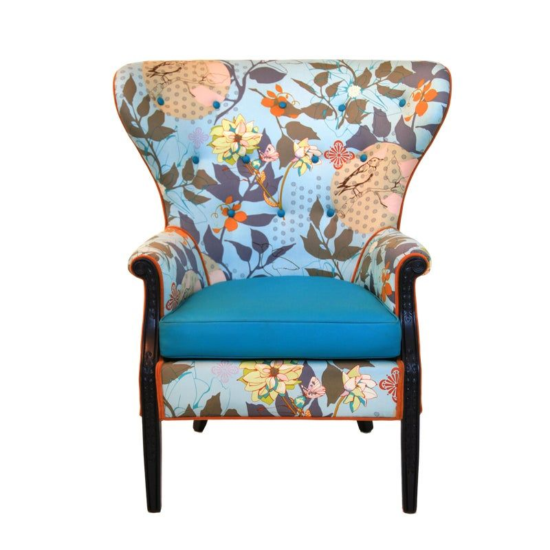 Best 1960S Vintage Baby Blue Floral Wingback Accent Chair 400 x 300