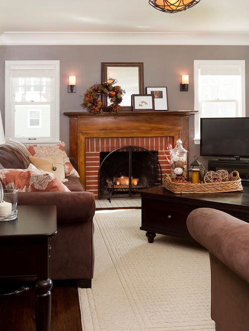 Red Brick Fireplace Home Design Ideas Pictures Remodel and Decor