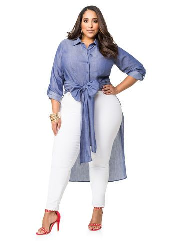 970e16873bc51 Chambray Tie Front Hi-Lo Duster Chambray Tie Front Hi-Lo Duster Plus Fashion
