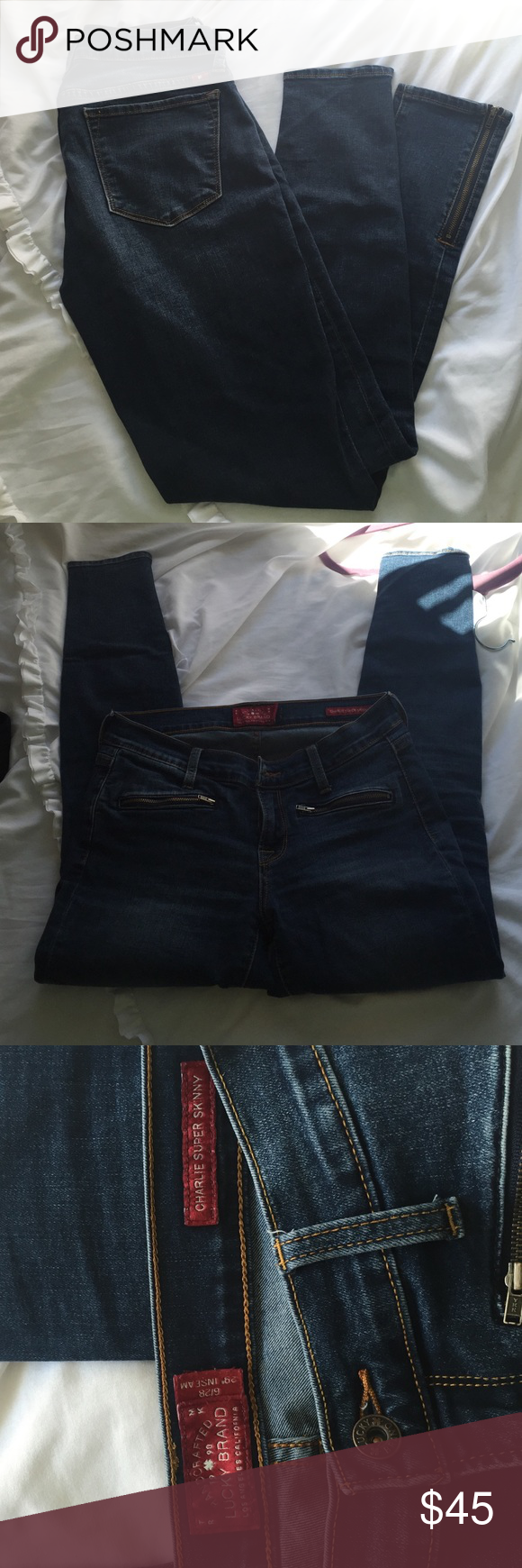 Lucky Brand Super Skinny Jeans Only worn once, like brand new Charlie Super Skinny jeans; include small zippers at bottom of legs, size 6/28 29'' inseam fit about a size 6/7 Lucky Brand Jeans Skinny