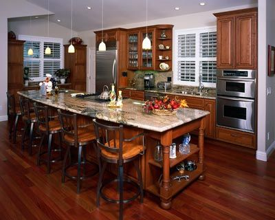 Open Floor Plan Kitchen with Long Island Eclectric Kitchen and