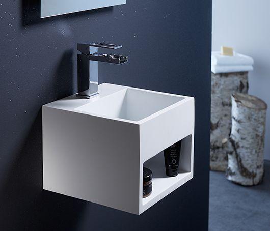 Lave-mains gain de place en solid surface Prato 33x18 cm avec porte - porte serviette salle de bain design
